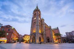 Myeongdong Cathedral in Seoul, South Korea at night.  Stock Images