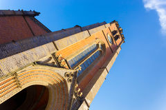 Myeongdong Cathedral Steeple Tilted Low Angle. Clear blue sky behind the tilted front of the brick steeple at Myeongdong Cathedral in Seoul, South Korea Stock Images