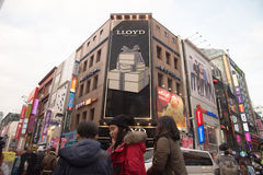 Myeongdong district  with people around Stock Images