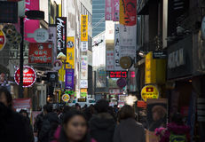 Myeongdong district in Seoul, South Korea Stock Photos