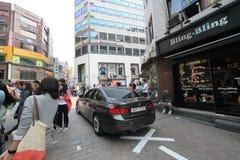 Myeongdong gata i Seoul, Sydkorea Arkivfoton