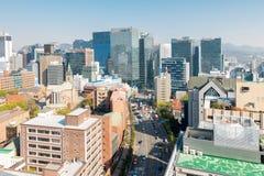 Myeongdong i stadens centrum cityscape i Sydkorea Arkivfoton