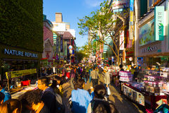 Myeongdong Narrow Shopping Street Stores Crowded Royalty Free Stock Images