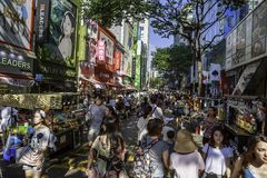 Myeongdong neighborhood in Seoul. A view from the street at Myeongdong neighborhood in Jung-gu, Seoul, South Korea Stock Photo