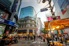 Myeongdong shopping district on Jun 18, 2017 in Seoul city, Sout Royalty Free Stock Photos