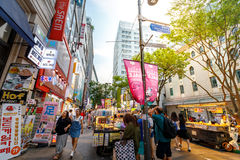 Myeongdong shopping district on Jun 18, 2017 in Seoul city, Sout Royalty Free Stock Photography