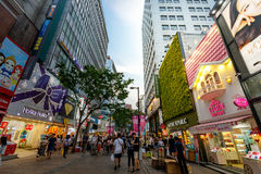 Myeongdong shopping district on Jun 18, 2017 in Seoul city, Sout Royalty Free Stock Image