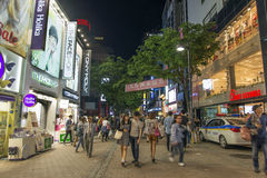 Myeongdong shopping street in seoul south korea. At night Royalty Free Stock Images