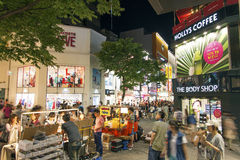 Myeongdong shopping street in seoul south korea Stock Images
