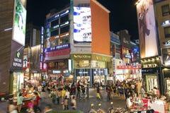 Myeongdong shopping street in seoul south korea. At night Royalty Free Stock Photography