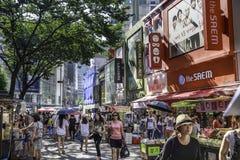 Myeongdong-Straßen in Seoul Stockfotografie