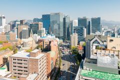 Myeongdong W centrum pejzaż miejski w Południowym Korea Zdjęcia Stock
