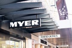 Myer and David Jones logos. In Melbourne, Australia. Myer and David Jones are big department store competitors in Australia Stock Images