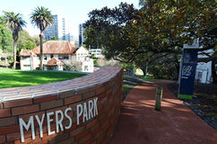 Myers Park in Auckland New Zealand. AUCKLAND -  AUG 06 2015:Myers Park in Auckland New Zealand.Myers Park developed in 1913 and for it's 100-year anniversary a Stock Photo