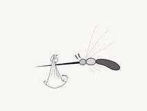 Mygga som bär den Zika viruset och ett nyfött Arkivbilder