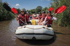 Women`s team on the rafting. stock image