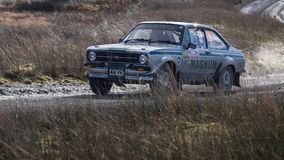 A car racing on the Myherin Rally track in Wales. Stock Photography