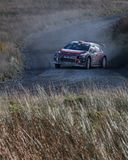 A car racing on the Myherin Rally track in Wales. Royalty Free Stock Photography