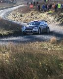 A car racing on the Myherin Rally track in Wales. Stock Images