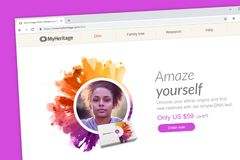 MyHeritage DNA-Websitehomepage Decken Sie Ihre ethnischen Herkünfte auf und finden Sie neue Verwandte mit einer DNA lizenzfreie stockfotos
