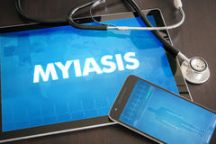 Myiasis (infectious disease) diagnosis medical concept on tablet. Screen with stethoscope Stock Photos