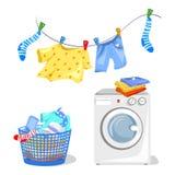 Myjący odziewa, pralka royalty ilustracja