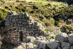 Mykines arkeologiskt ställe i Grekland Arkivfoton