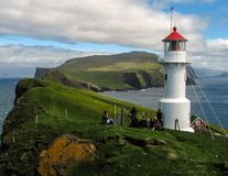 Mykines. Lighthouse in Mykines holm , Faroe Islands Royalty Free Stock Photos