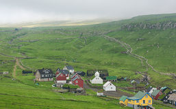 Mykines, typical village in Faroe islands. Royalty Free Stock Images
