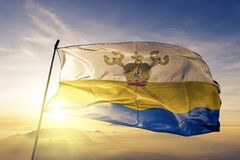 Mykolaiv Oblast av tyg för torkduk för Ukraina flaggatextil som vinkar på den bästa soluppgångmistdimman stock illustrationer