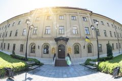 Mykolayiv, Ucrania - 29 de junio de 2017: Museo regional de la historia local - cuarteles de Mykolayiv de Staroflotski fotografía de archivo