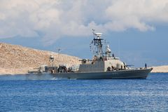Mykonios missile boat, Halki Royalty Free Stock Photos