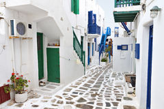 Mykonos海岛,希腊街道  免版税图库摄影