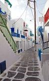 Mykonos的巷道 免版税图库摄影