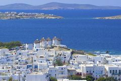 Mykonos,希腊全景 图库摄影