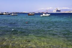 mykonos гавани Греции Стоковое Изображение