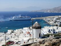 Mykonos 2. Typical view of Mykonos and one of his windmills, Greece royalty free stock image