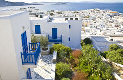 Mykonos. Overlooking Mykonos Town (Hora) on the island of Mykonos towards the Aegean Royalty Free Stock Photos