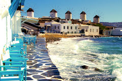 Mykonos. View of the famous windmills of Mykonos, Greece Stock Photo