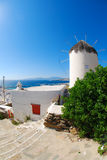 Mykonos. Aegean architecture blue building cyclades greece greek island mediterranean mykonos sea summer tourism traditional travel white windmill Stock Images