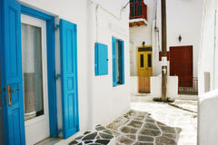 Mykonos. The street of mykonos,full of color Stock Photos