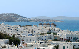 Mykonos. White houses descending to a bay from hills of Mykonos Royalty Free Stock Photography
