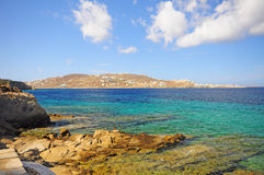 Mykonos and Aegean sea Stock Photos