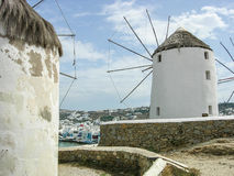 Mykonos as seen from between two windmills. The view of the houses of Mykonos, Greece, as seen from between two of the famous windmills Stock Photography