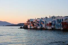 Mykonos au coucher du soleil Photographie stock libre de droits