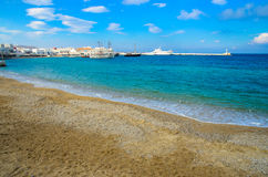 Mykonos beach. The beach in front of the harbour in Mykonos island, Aegeon sea,Greece Stock Images