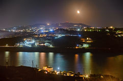 Mykonos bij nacht Stock Foto's