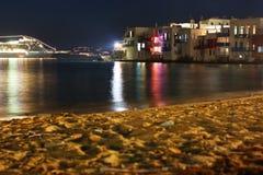 Mykonos bis zum Night lizenzfreie stockbilder