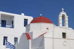 Mykonos Chapel and Bell Roof Royalty Free Stock Images