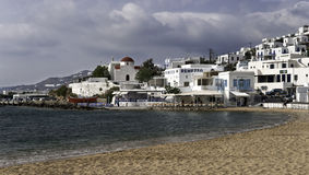 Mykonos city beach in spring Stock Images
